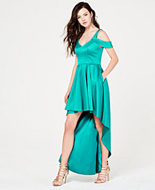 My Michelle Juniors' Cold-Shoulder High-Low Gown