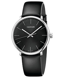 Calvin Klein Men's Swiss High Noon Black Leather Strap Watch 40mm
