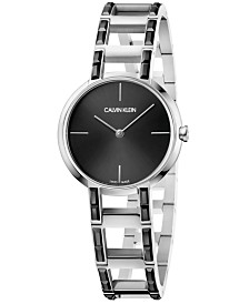 Calvin Klein Women's Swiss Cheers Stainless Steel & Black Swarovski Stone Bracelet Watch 32mm