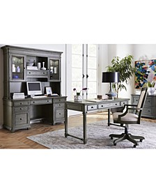 Sloane Home Office, 4-Pc. Set (Writing Desk, Lateral File Cabinet, Open Bookcase & Upholstered Desk Chair)