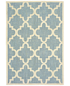 "Oriental Weavers Barbados 6437J Blue/Ivory 6'7"" x 9'6"" Indoor/Outdoor Area Rug"