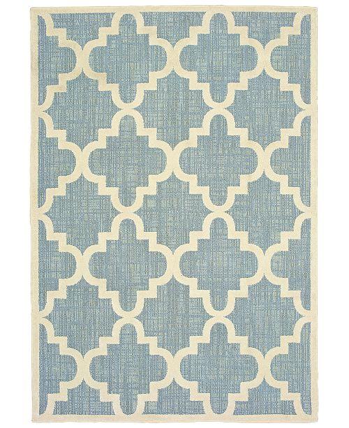 "Oriental Weavers Barbados 6437J Blue/Ivory 3'3"" x 5' Indoor/Outdoor Area Rug"