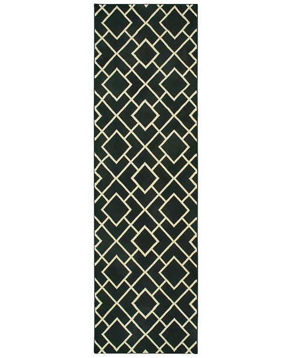 """Oriental Weavers Luna 8123B Black/Ivory 2'3"""" x 7'6"""" Runner Area Rug"""