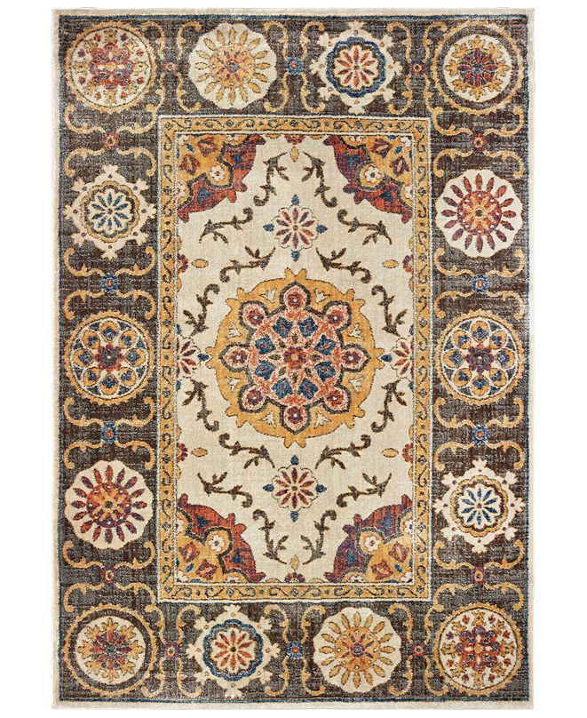 """Oriental Weavers Pandora 4929X Ivory/Brown 2'3"""" x 7'6"""" Runner Area Rug"""