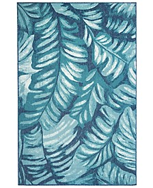 "Riviera 7650 Palm Teal 7'10"" x 9'10"" Indoor/Outdoor Area Rug"