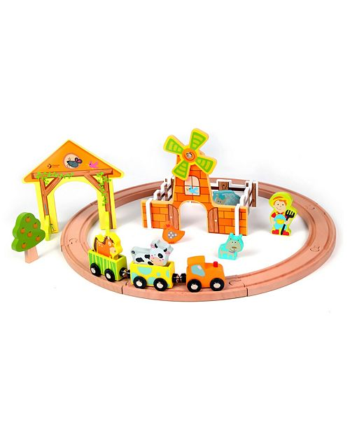 Group Sales Wood Farm Themed Train Set