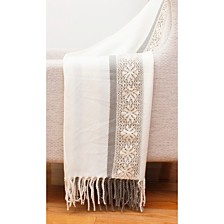 "Tati Lace Applique Knit Decorative Throw, 50"" x 60"""