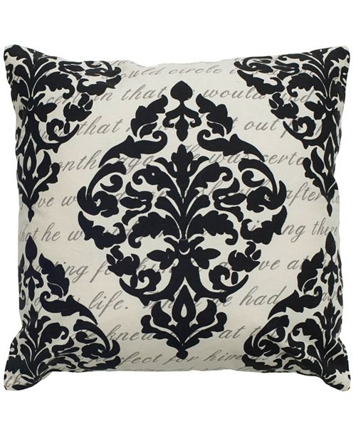 """Rizzy Home 20"""" x 20"""" Script under Print with Damask Pillow Cover"""