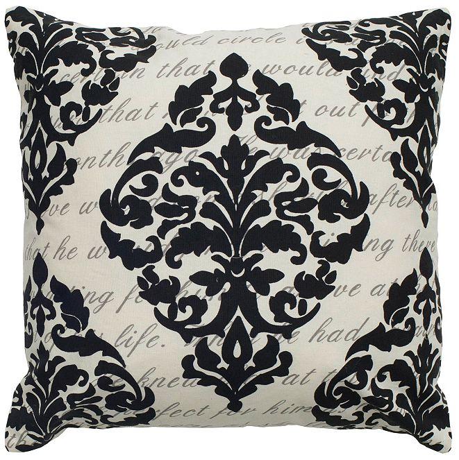 "Rizzy Home 20"" x 20"" Script under Print with Damask Pillow Cover"