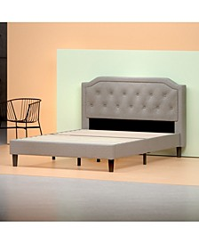 Upholstered Scalloped Platform Bed Frame - Strong Wood Slat Support