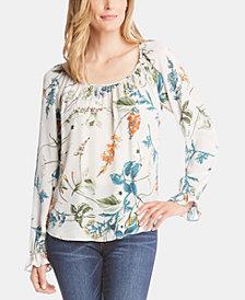Karen Kane Floral-Print Ruffle-Cuff Top