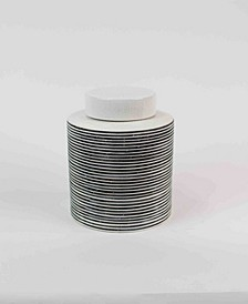 Small Ceramic Striped Canister