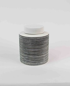Kalalou Small Ceramic Striped Canister