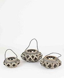 Kalalou Chipwood Lanterns w/Glass, Set of Three