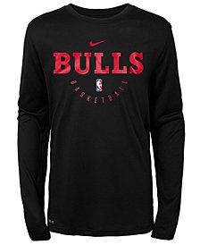 Nike Chicago Bulls Long Sleeve Practice T-Shirt, Big Boys (8-20)