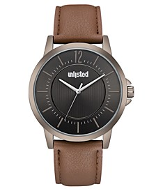Men's Brown Synthetic Leather Sport Watch, 44MM
