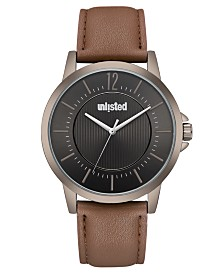 Unlisted Men's Brown Synthetic Leather Sport Watch, 44MM