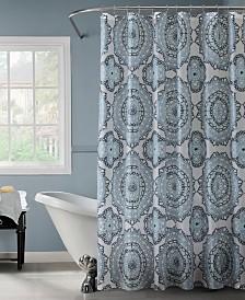 Bath Bliss Mandula Design Shower Curtain in Blue & Green