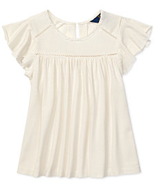 Polo Ralph Lauren Toddler Girls Inset-Lace Flutter-Sleeve Top