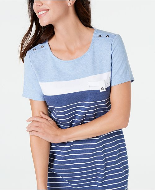 eed7890251dd Karen Scott Petite Striped T-Shirt Dress, Created for Macy's ...