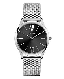 GUESS MEN'S STAINLESS STEEL BLACK DIAMOND MESH WATCH