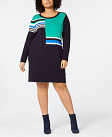 Tommy Hilfiger Plus Size Colorblocked Long-Sleeve Shift Dress, Created for Macy's