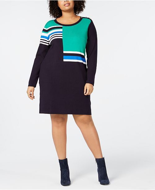 Tommy Hilfiger Plus Size Colorblocked Long-Sleeve Shift Dress ...