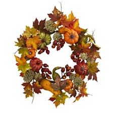 """Nearly Natural 24"""" Pumpkin, Gourd, Berry and Maple Leaf Wreath"""