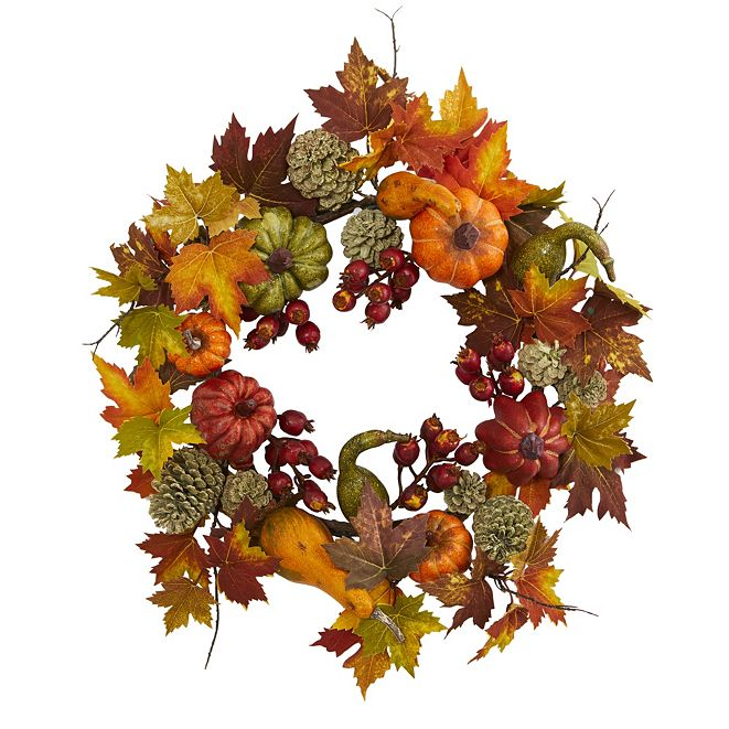 "Nearly Natural 24"" Pumpkin, Gourd, Berry and Maple Leaf Wreath"