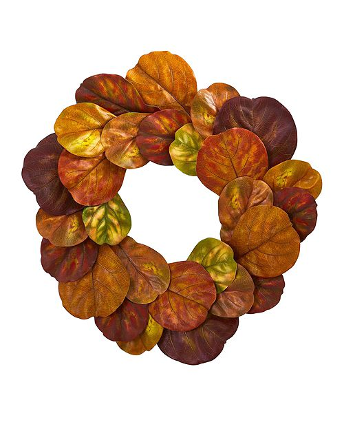 """Nearly Natural 29"""" Fiddle Leaf Artificial Wreath"""