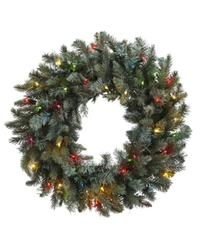 """Nearly Natural 30"""" Pine Wreath w/ Colored Lights"""