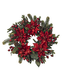 "Nearly Natural 24"" Poinsettia and Berry Wreath"