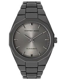 Faceted Bezel Genuine Black Diamond Dial Bracelet Watch