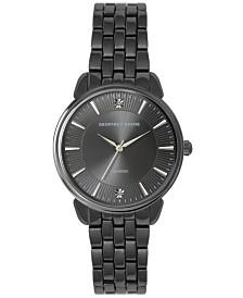 Geoffrey Beene Black Sunray Dial Genuine Diamond Bracelet Watch