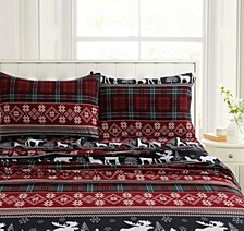 Holiday Print Heavyweight Flannel Extra Deep Pocket Twin Sheet Set