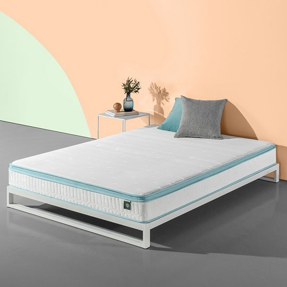 """Zinus Mint Green 8"""" Hybrid Spring Mattress- Firm Support Delivered in a Box"""