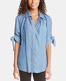 Karen Kane Tie-Sleeve Button-Up Top