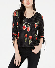 BCX Juniors' Printed Ruched-Sleeve Top