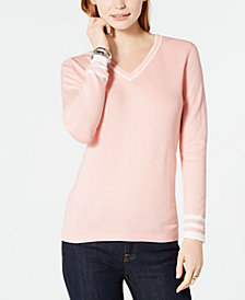 Tommy Hilfiger Cotton V-Neck Sweater, Created for Macy's