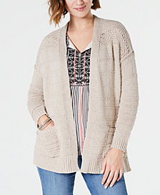Style & Co Petite Pointelle-Shoulder Cardigan, Created for Macy's