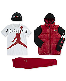 Jordan Big Boys Air Cap, Hooded Puffer Jacket, Graphic-Print T-Shirt & Jogger Pants