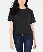 Carbon Copy Cropped Rhinestone Embellished T Shirt