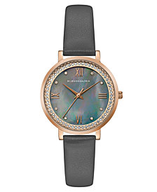 BCBG MaxAzria Ladies Grey Leather Strap Watch with Grey MOP Dial, 33MM