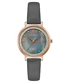 BCBGMAXAZRIA Ladies Grey Leather Strap Watch with Grey MOP Dial, 33mm