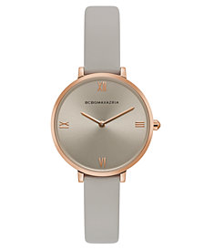 BCBG MaxAzria Ladies Grey Strap Watch with Grey Dial, 34MM