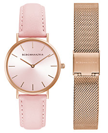 BCBG MaxAzria Ladies Watch Box Set with Pink Leather Strap and Rose Gold Mesh Bracelet, 36MM