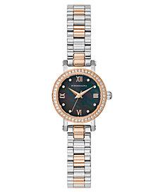 BCBG MaxAzria Ladies Two Tone Rose-Gold Tone Bracelet Watch with Dark MOP Dial, 24MM