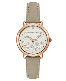 BCBG MaxAzria Ladies Beige Leather Strap with Floral Dial with Rose Gold Case, 34MM