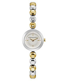 Ladies Two Tone Bracelet Watch with Silver Dial, 20mm