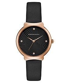 BCBGMAXAZRIA Ladies Black Leather Strap Watch with Black Wave Textured Dial, 32mm